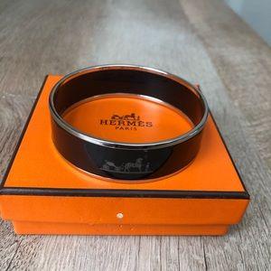 Hermes Caleche Bangle Enamel Bracelet, Black